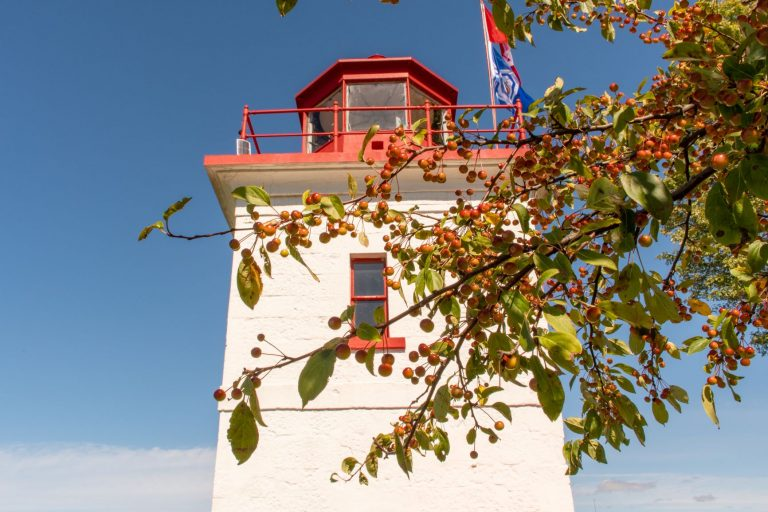 The Goderich lighthouse, sits on the shoreline of Lake Huron in Ontario