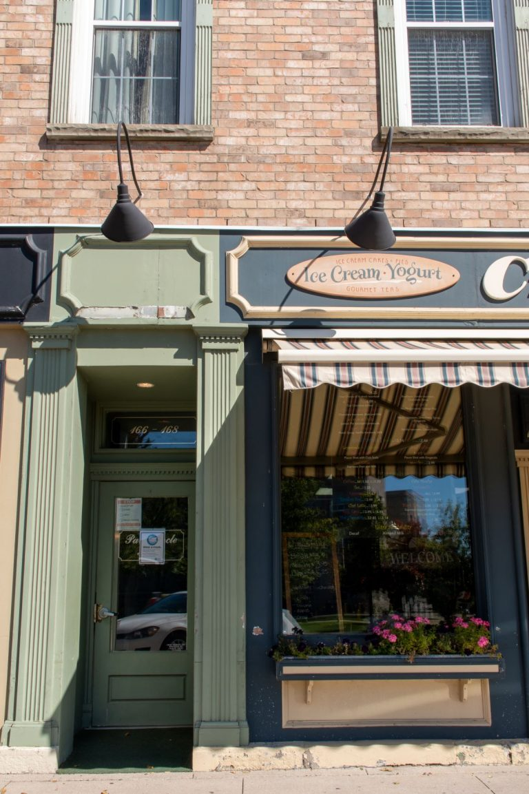 The historic downtown Goderich Ontario features mid-1800 architecture buildings