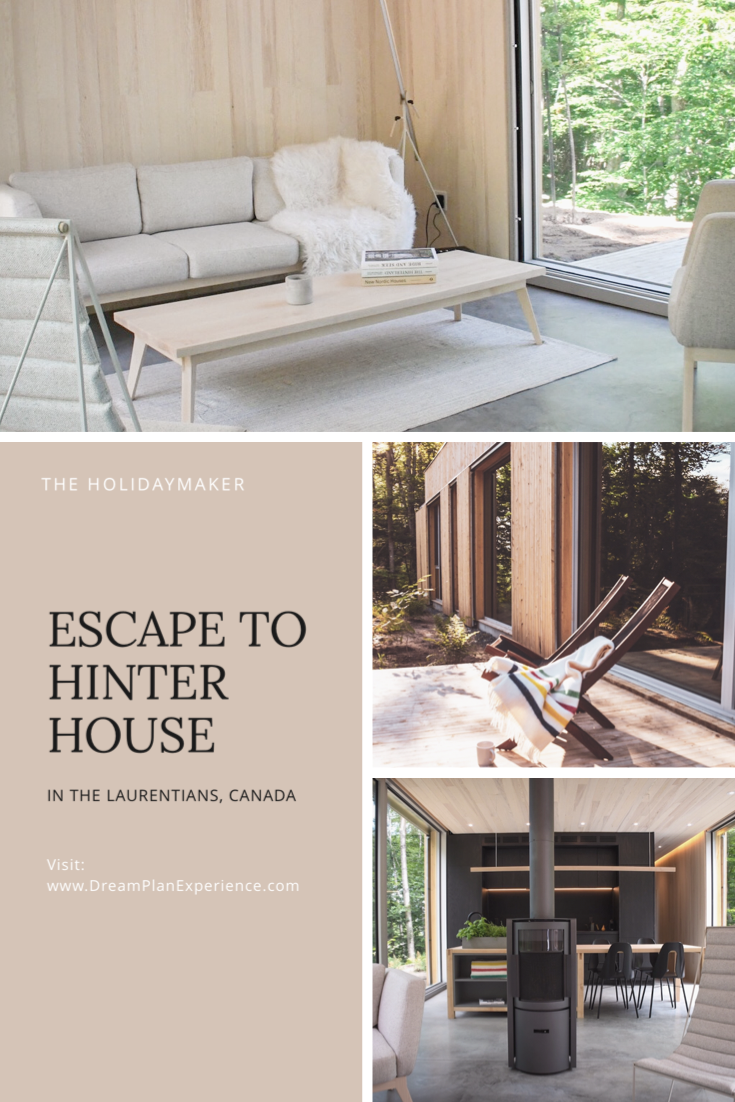 Escape to Hinter House, a Scandinavian designed cabin deep in the woods of the Laurentians, in the province of Québec, Canada