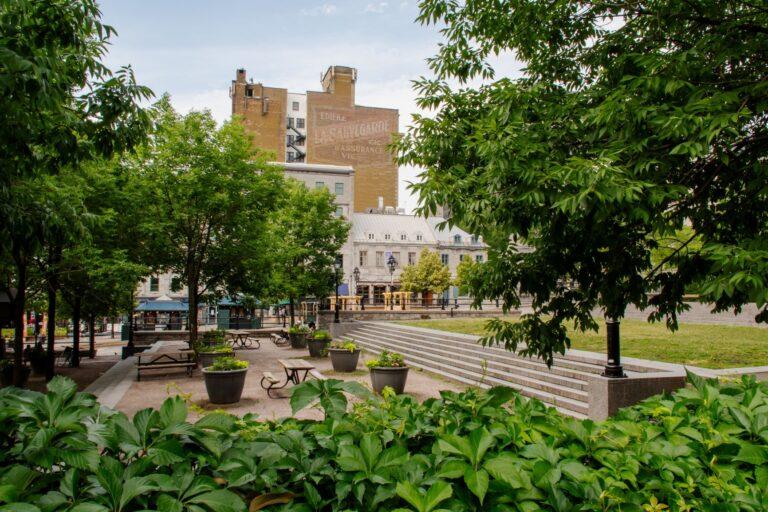 Place de la dauversière is a quiet park just off the busy Jacque Cartier Square.