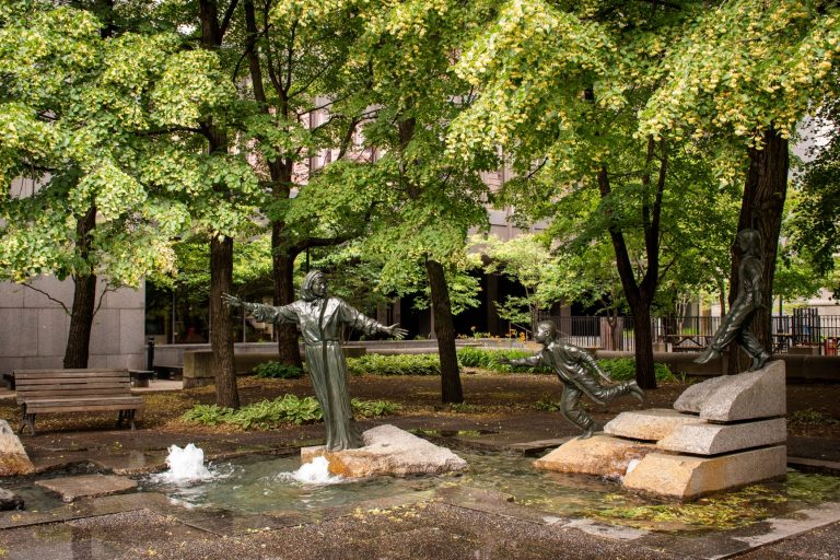 The lovely urban parks in Old Montreal, Quebec.
