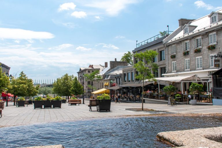 Old Montreal, Quebec - Place Jacques Cartier public square that leads you to Old Port.