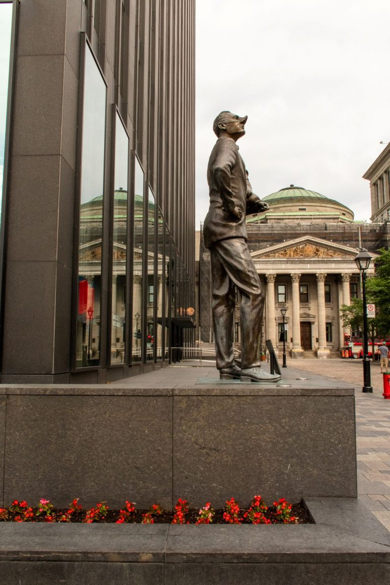 Place d'Armes, an important public square in Montreal that features some of the most iconic historic buildings