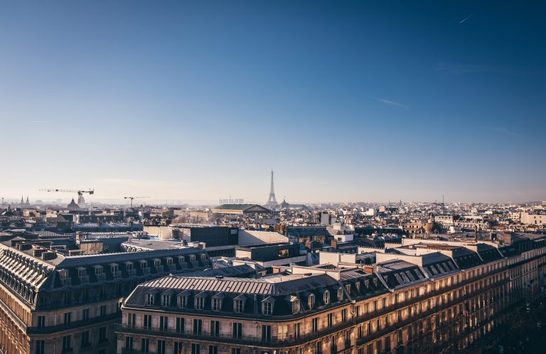 The rooftop restaurant of the Galeries Lafayettes has iconic views of the Eiffel Tower.