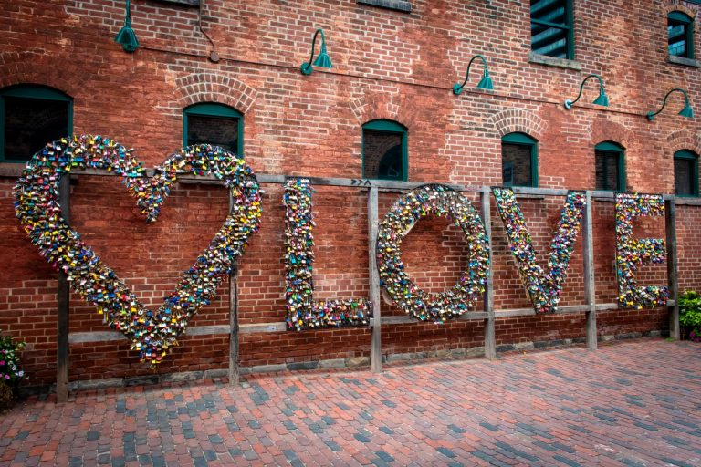 The 9 metre-long love lock found in Toronto's historic Distillery District.