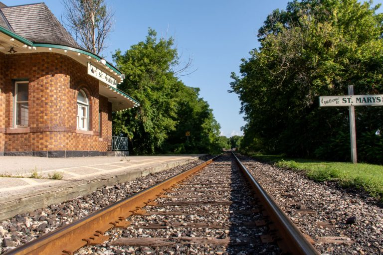 The former Grand Trunk Railway depot, built in 1907, in St. Marys, Ontario, Canada.