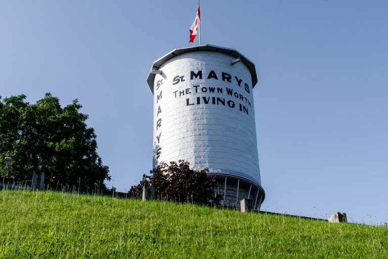 St. Marys water tower, built in 1899, is made entirely of local limestone. Visit this charming small town in Ontario, Canada.