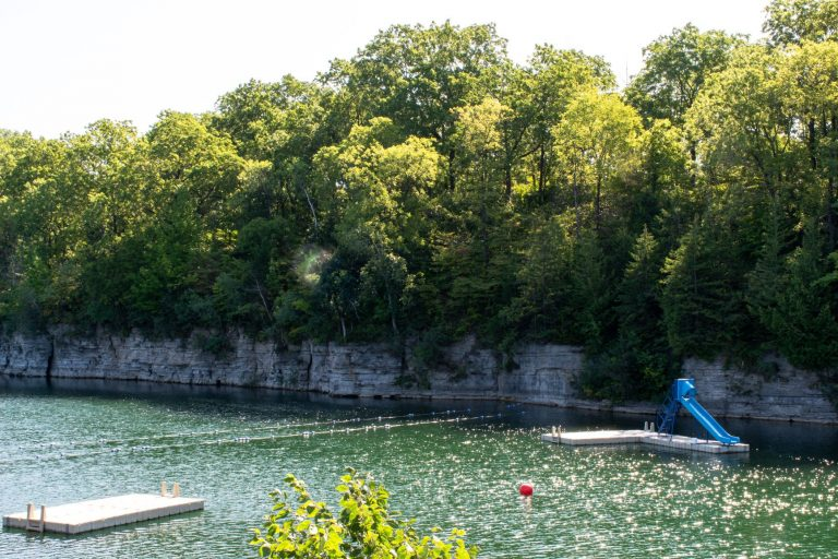 Visit Canada's largest outdoor freshwater swimming pool in St. Marys, Ontario. It dates back to mid-1800s and used to be a former limestone quarry.