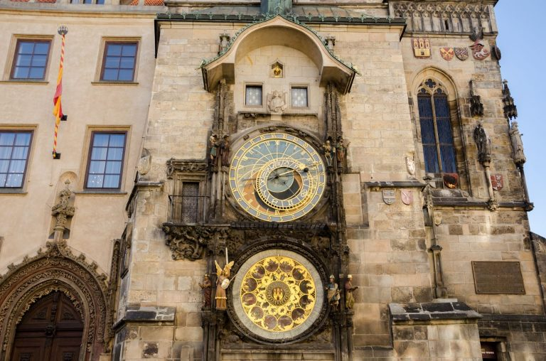 Since 1490, the Old Town hall's Astronomical Clock in Prague, Czech Republic chimes
