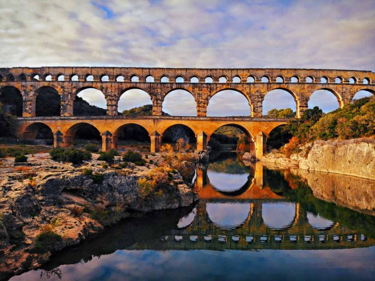 Pont du Gard is located in France and it's one of the famous French Landmarks.