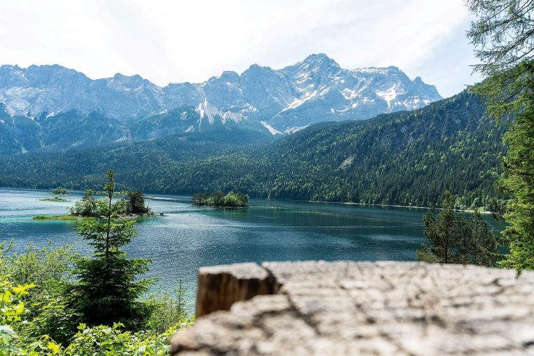 Lake Eibsee with Zugspitze mountains in southern Germany