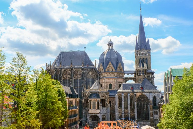 The Aachen Cathedral located in the historic old town of Aachen, Germany, is a UNESCO World Heritage site