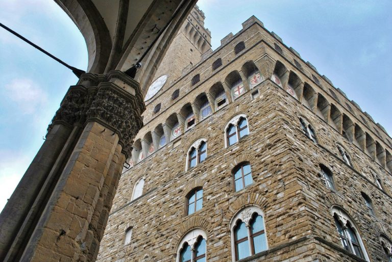 The Palazzo Vecchio is the town hall of Florence, Italy. It overlooks the Piazza della Signoria, which holds a copy of Michelangelo's David statue.
