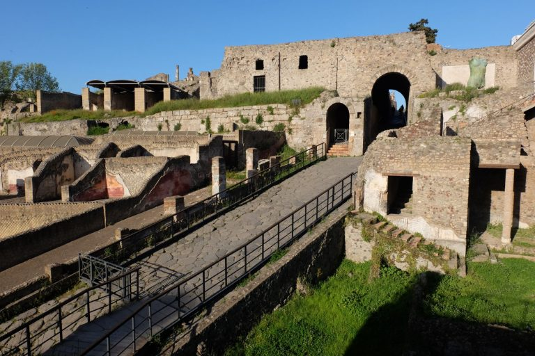 Pompeii is a huge archaeological site just south of Naples, in the shadow of Mount Vesuvius in Italy.