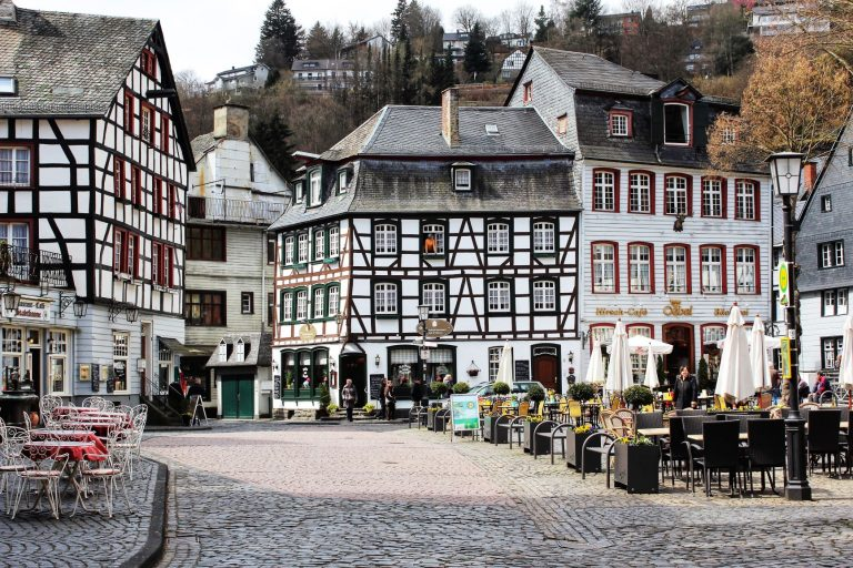 The Market Square in Monschau Germany. A picturesque square in the center of Old Town.