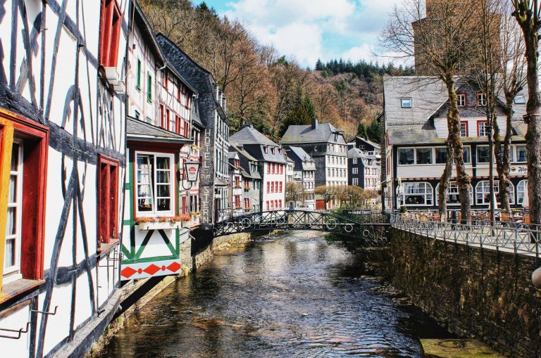 The Rur River that flows the pretty town of Monschau, Germany