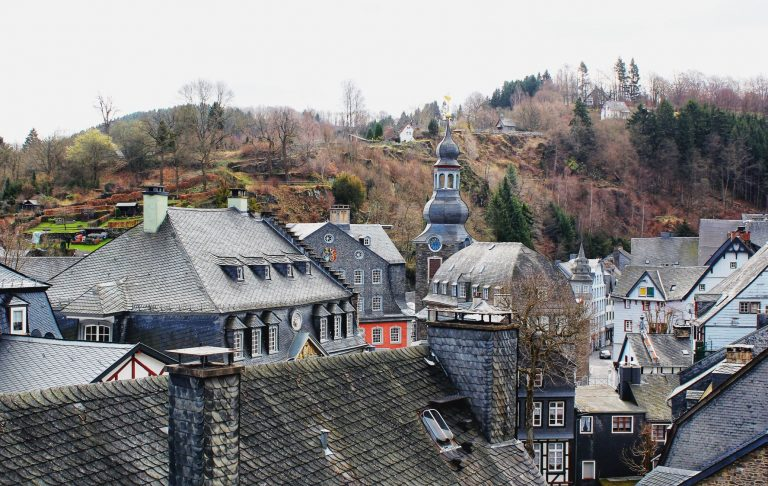 Views of Monschau from the Burg Monschau, a 13th century castle that is perched above the pretty town of Monschau, Germany