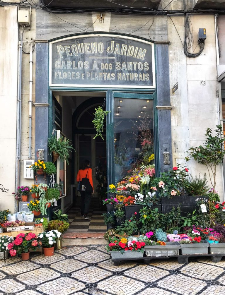 The historical flower shop found in one of the Coolest Neighbourhoods in Lisbon Portugal | www.DreamPlanExperience.com