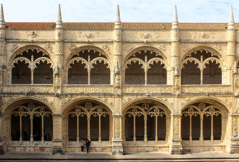 The Jerónimos Monastery in Lisbon Portugal is a UNESCO World Heritage site and one of the Seven Wonders of Portugal