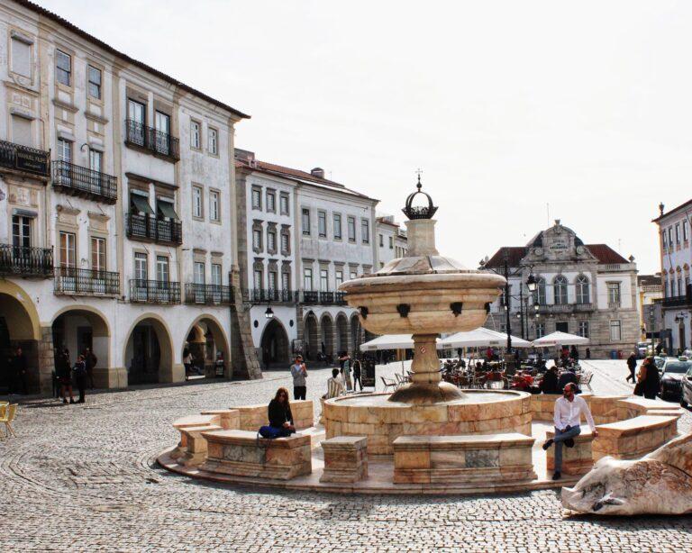 Praca do Giraldo is the main square in Evora Portugal