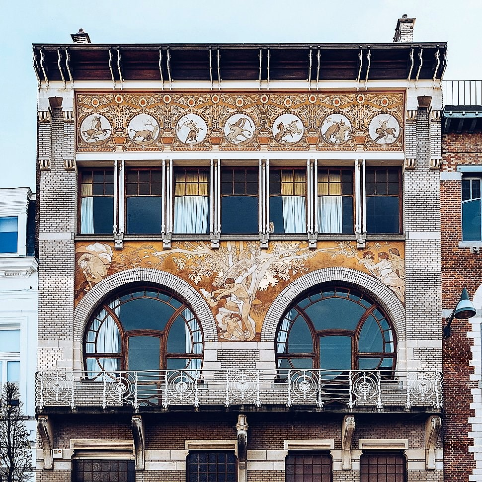 Designed by architect Paul Hankar in 1897 for Albert Ciamberlani, known as the Caimberlani House. Art Nouveau architecture in Brussels Belgium.