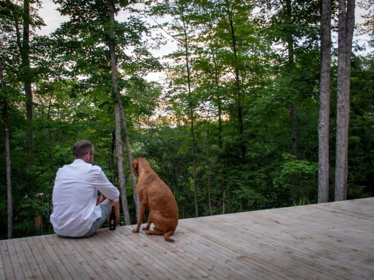 Not only is this a gorgeous stay for you, it is also pet friendly. | Escape to Hinter House in the Laurentians, Canada